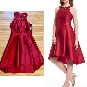 Adrianna Papell Red Beaded Part Dress